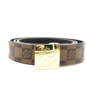 Damier Ebene Gold Buckle Leather Logo Belt